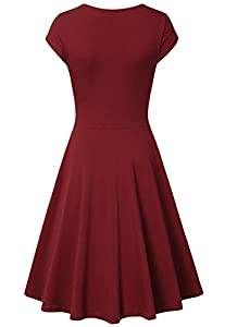Lotusmile Women's v-Neck Solid Short-Sleeve Knee Fit-and-Flare Dress, Wine, Medium