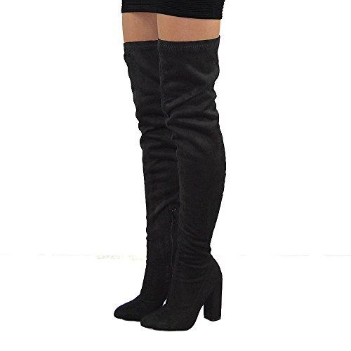 Essex Glam Womens Thigh High Round Heel Stretch Long Leg Boots Black Faux Suede kTCmwM6