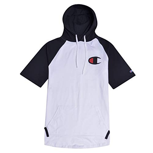 - Champion Big and Tall Mens Short Sleeve Hoodie Raglan with Big C Chest Logo White/Black 3X Tall