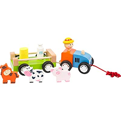 Small Foot Wooden Toys Farmer with Animals Pull-Along Toy Playset Designed for Children Ages 12+ Months: Toys & Games