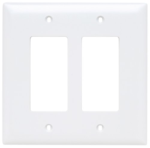 2 Wall Plates (Legrand - Pass & Seymour TPJ262WCC10 Trade Master Jumbo Wall Plate with Two Decorator Openings, Two Gang, White)