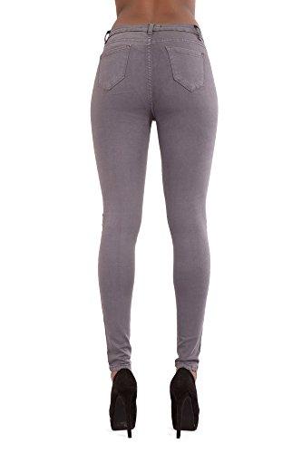 Pantalones Cintura Elásticos Lustychic Talla Colores Alta Gris Eu 36 Blanco 50 Azul Mujer Negro Para gHqqwd8