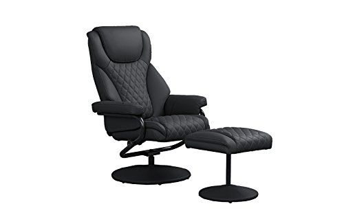 (Divano Roma Furniture Office Swivel Chair with Footstool, Faux Leather Reclining Executive and Gaming Chairs (Black))