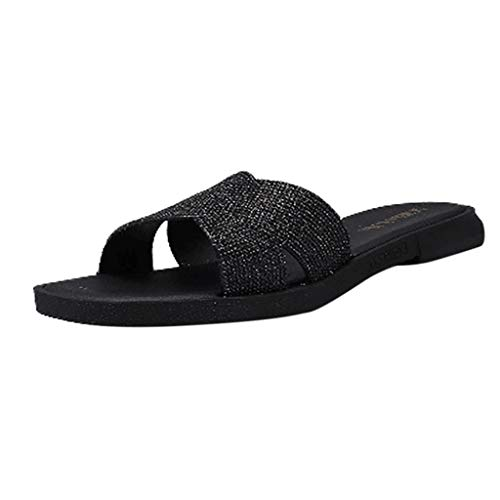 Dressin Womens Sandals Adult Classic Vintage Slip Slippers Solid Flat Peep Toe Casual Shoes Travel Flip Flop Shoes Black