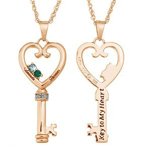 665ae0c6ce Image Unavailable. Image not available for. Color: Couples Name & Birthstone  Heart Key Necklace with Diamond Accent