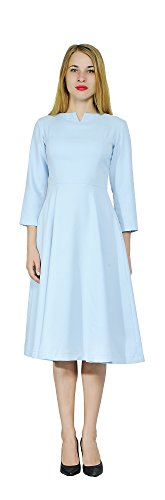 Marycrafts Womens Elegant Classy Office Business Long Tea Midi Dress 4 Mint