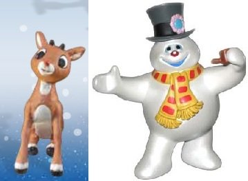 Forever Fun Christmas Classics Mini-Figurines: Rudolph the Red-Nosed Reindeer and Frosty the Snowman, Set of 2