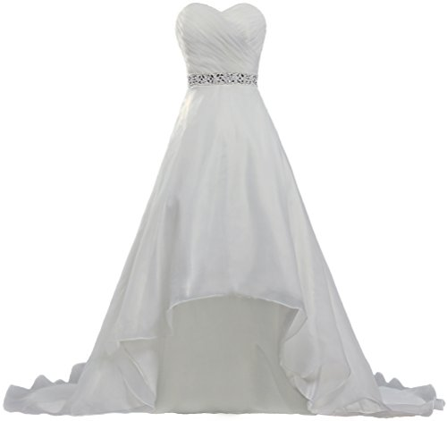 ANTS Women's Bead Short Front Long Back Bridal Wedding Dresses Gown K362-MFN