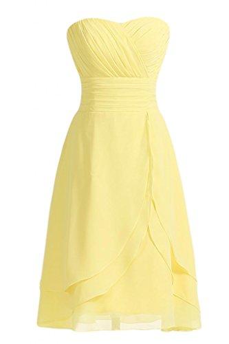 pieghettato vestito corte sera linea Sweetheart abito con della Cocktail Narciso Chiffon Sunvary da da d'onore damigella n6XqpxWw
