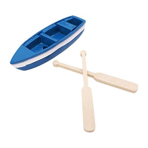 Lumumi Dolls House 1:12 Scale Blue Mini BoatFurniture Model Furniture Wooden Set Accessory ()