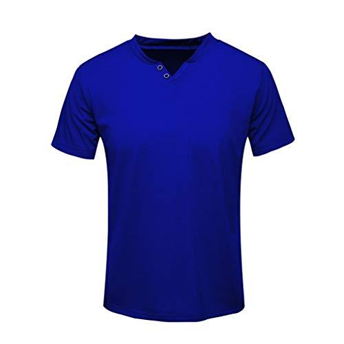 ✦◆HebeTop✦◆ Men's Premium Lightweight Ringspun Cotton Short Sleeve T-Shirt Dark Blue