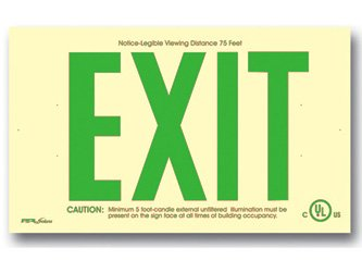 Photoluminescent Exit Sign 50' Viewing Distance Feet Green - No Electricity - Code Compliant - UL Listed - Arrows - Surface Mount - Made in USA