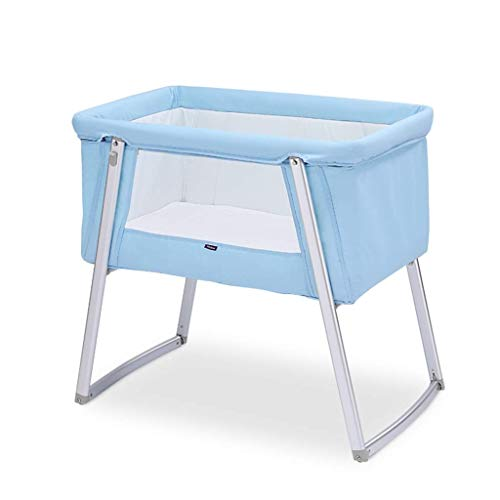 JAZC-Bed Rail Cradles Multifunctional Baby Crib Travel Cots Foldable Baby Bed Portable Bed Blue ()