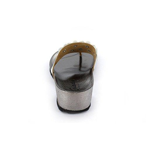 Giada 00307-1 - Zuecos de charol para mujer plateado