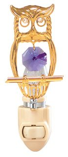 24k Gold Small Owl Night Light - Purple Swarovski Crystal
