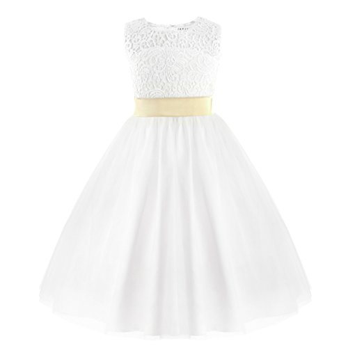 iEFiEL Toddlers/ Big Girls Lace Crochet Heart Cutout Ivory Wedding Flower Girl Dress First Communion Pageant Short Gown White 4