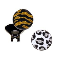 Navika Snow Leopard and Tiger Glitzy Ball Marker Combo with ONE Magnetic Hat (Animal Golf Ball Marker)