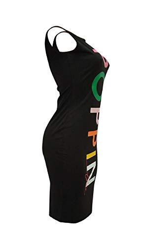 Black Fashion Bluewolfsea Letter Tunic Sleeveless Women T Clubwear Dress Midi Printed Shirt Party 55rp7wqW