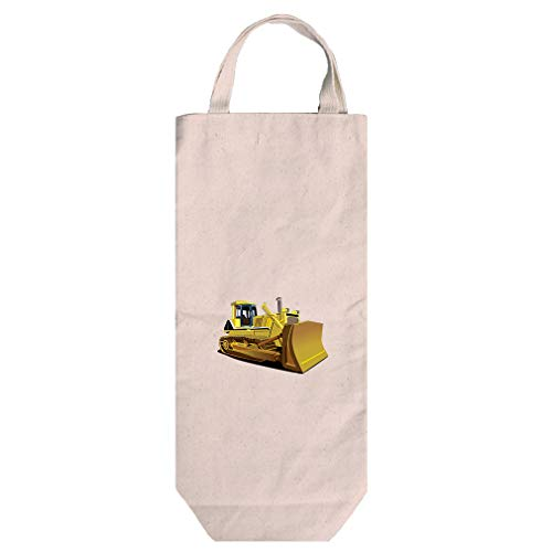 Yellow Dozer Car Auto Cotton Canvas Wine Bag Tote With Handles Wine Bag