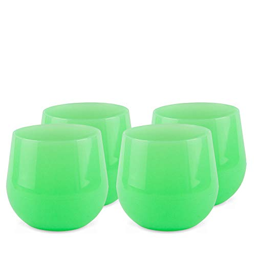 Silipint Unbreakable Silicone Wine Glasses, BPA-Free, Pool Side Safe, Red and White Wine Drinkware (Set of 4 Glow In The Dark - 14oz Cups)