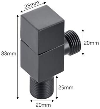 XIEJING Angle Valve Water Control Valve Angle Valve Bathroom tap 1//2 1//2 Stainless Steel Black Angle Valve Cut Off valves Water