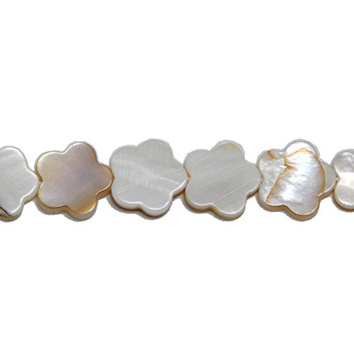 MOTHER OF PEARL FLOWER BEADS 15mm NATURAL SHELL GRADE A FREE SHIPPING Mother Of Pearl Flower