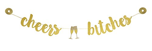 CHEERS BITCHES Gold Silver Glitter Banner with Champagne Glasses | pre strung bridal wedding shower | bachelorette engagement birthday party decorations accessories favors | CC Party Co. -