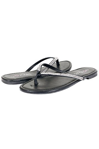 Yours Clothing Wide Fit Women's Flip Flop With Diamante Trim In True Eee Fit Black
