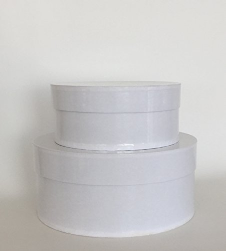 Rustic Pearl Collection Round Nesting Boxes, Set/2, Gloss White Nested Gift Boxes -