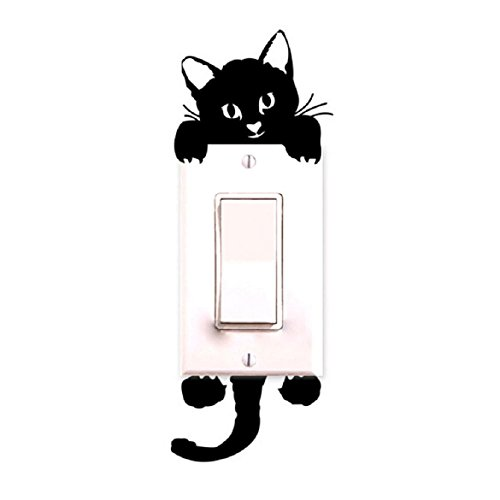 Susenstone Cat,Wall Stickers, Light Switch Decor Decals, Art Mural Baby Nursery (Halloween Rooms)