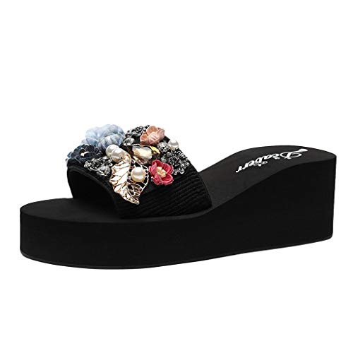 Sunhusing Female Summer Color Pearl Flower Leaves Embellished Slope with Sandals Non-Slip Thick Bottom Slippers Blue ()
