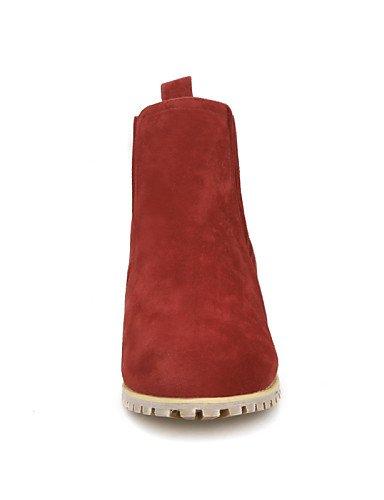 Cn38 5 Eu42 Eu38 Uk5 Botas Mujer us10 La Robusto Punta 5 Cn Redonda Beige us7 Tacón De Vestido Zapatos Casual 5 Vellón Uk8 Xzz Beige Rojo A Moda 5 Cn43 Negro Beige xn1wHg0