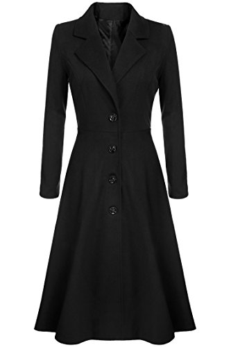 inkco Women Extra Long Single Breasted Pea Coat Overcoat (S, Black) (Long Dress Coat)