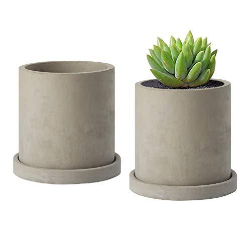 MoonLa 3.93 Inch Gray Unglazed Cement Succulent Planter Pots Concrete Cactus Planter Mini Plant Pot Flower Pots with Drainage Hole and Removable Saucer, Set of 2