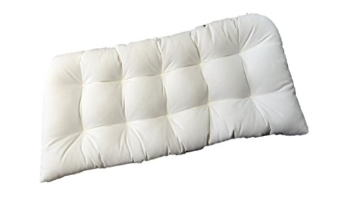 Indoor / Outdoor Tufted Cushion for Wicker Loveseat Settee - Sunbrella Canvas White