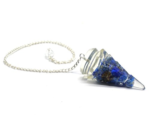 Healing Crystals India Natural Reiki Metaphysical Lapis Lazuli Cone Shaped Divination Dowsing Pendulum w/Chain]()
