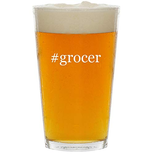 #grocer - Glass Hashtag 16oz Beer Pint