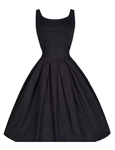 Women's Classy 1950s Vintage Rockabilly Swing Dress (XL, Black) - 1950 Outfit