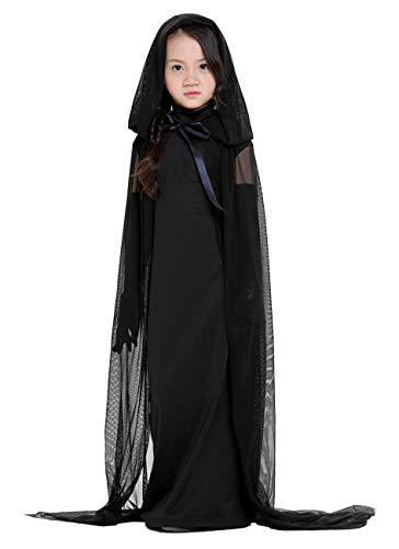 BADI NA Womens Girls Halloween Ghost Bride Witch Vampire Costume Cloak Dress Outfit Black XS ()