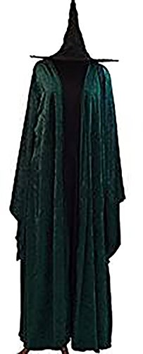 Halloween-Wizard School-Magic-Mcgonagall HOGWARTS WITCH DRESS, CLOAK & HAT Ladies Fancy Dress Costume - From Sizes 10-42 (LADIES -