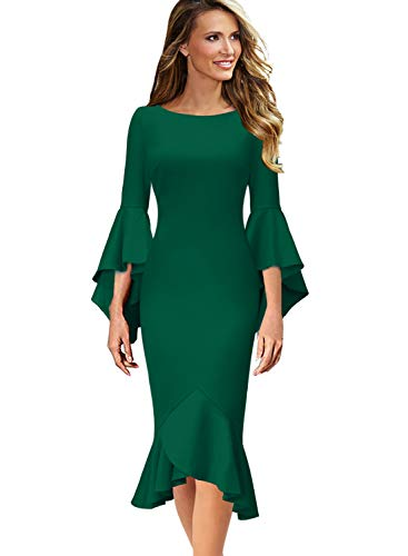 VFSHOW Womens Ruffle Bell Sleeve Cocktail Party Mermaid Midi Mid-Calf Dress 1700 GRN S