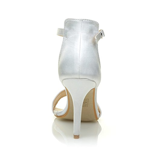 ShuWish UK PAM White Satin Ankle Strap Barely There Bridal High Heel Sandals RWKaMUU