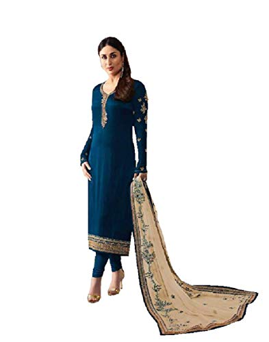 Pakistani Clothes - Delisa Indian/Pakistani Fashion Dresses for Women K3 (Crape Blue, X-LARGE-44)