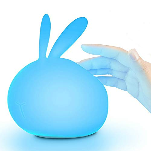 Bunny Night Light for Kids: Cute Rabbit Night Light for Babies, Toddlers and Children's Bedroom. Best Birthday Gift for Girls (7-Color Rechargeable LED Silicone Light)