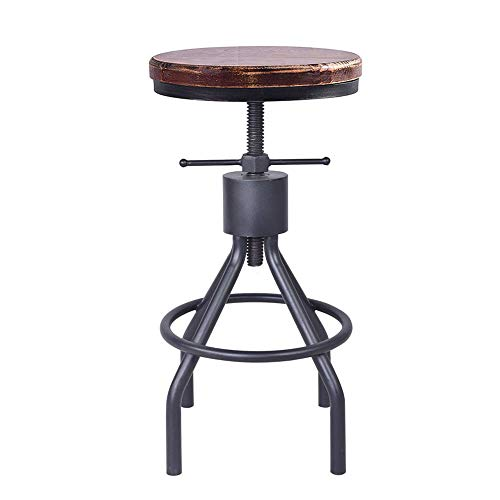 VINTAGELIVING Industrial Swivel Bar Stool Extra Tall Counter Coffee Kitchen Dining Chair American Style Height Adjustable 22-34inch