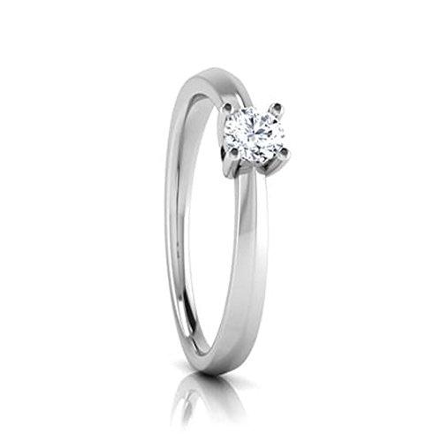 18K Or Blanc, 0,19carat Diamant Taille ronde (IJ   SI) en diamant