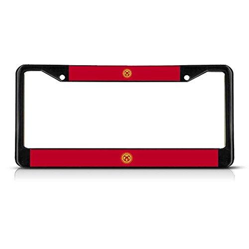Kyrgyzstan Kyrgyz RESPUBLIKASY Flag Black Heavy Metal License Plate Frame Tag Perfect for Men Women Car garadge Decor