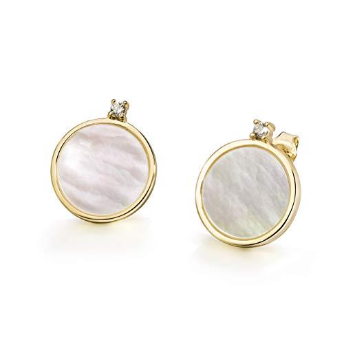 er of Pearl Earrings Stud Earrings Sterling Silver Earrings Disc Earrings Seashell Earring Cubic Zirconia Earrings Gold Earrings for Women