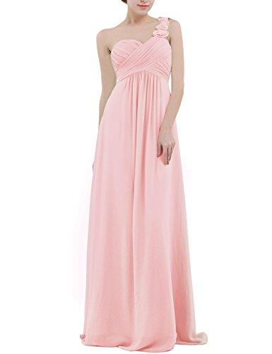 iiniim Women's Chiffon One-Shoulder Evening Prom Gown Wedding Bridesmaid Long Dress Pearl Pink US Size 4
