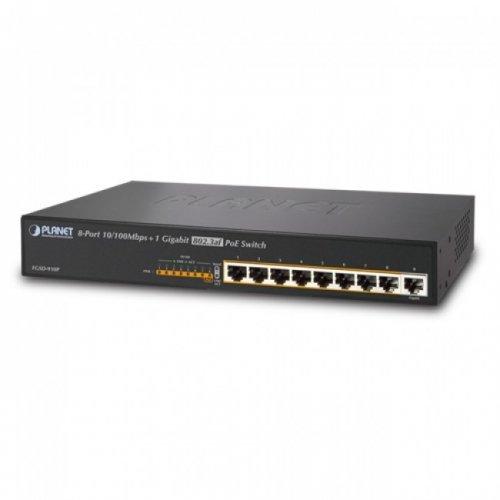 PLANET FGSD-910P / 8-Port 10/100Mbps 802.3af PoE + 1-Port 10/100/1000Mbps Desktop Switch